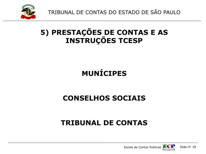 5) PRESTAÇÕES DE CONTAS E AS  INSTRUÇÕES TCESP