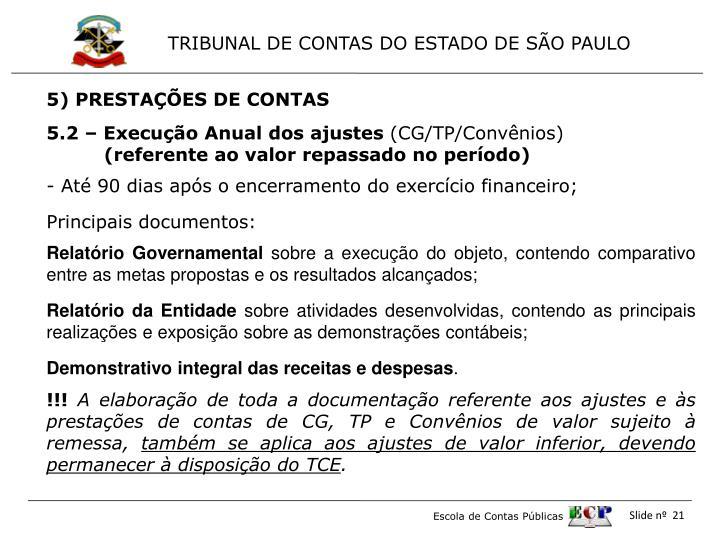5) PRESTAÇÕES DE CONTAS