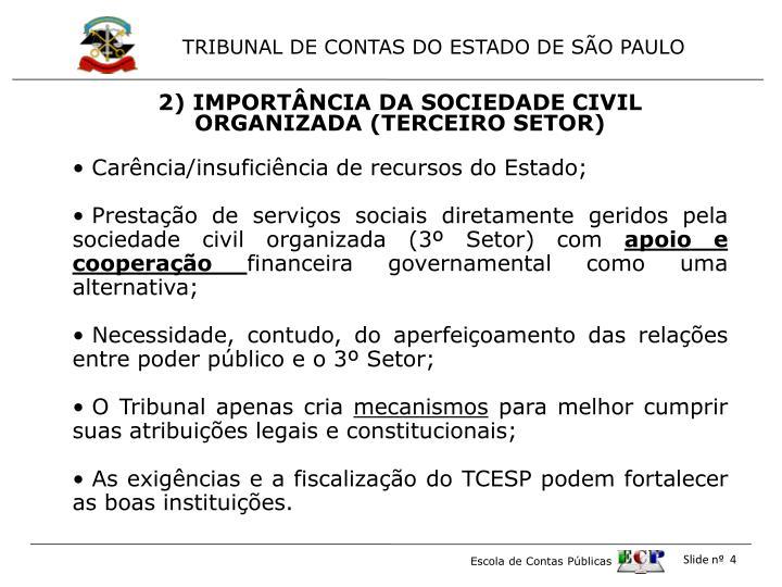 2) IMPORTÂNCIA DA SOCIEDADE CIVIL ORGANIZADA (TERCEIRO SETOR)