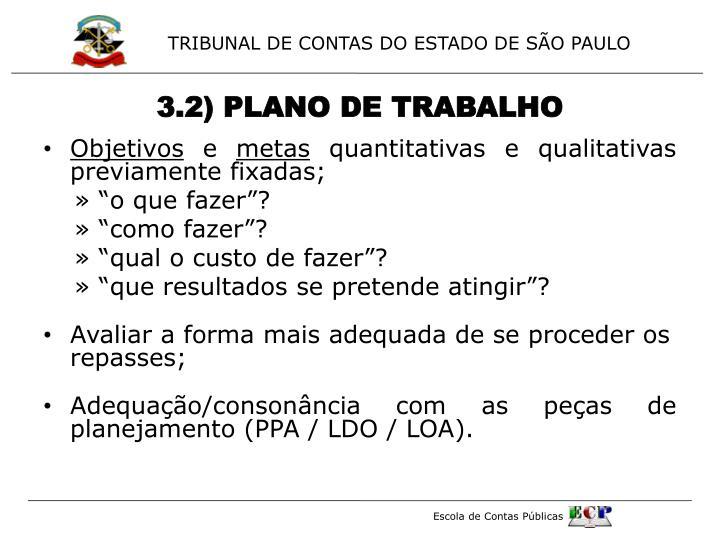 3.2) PLANO DE TRABALHO