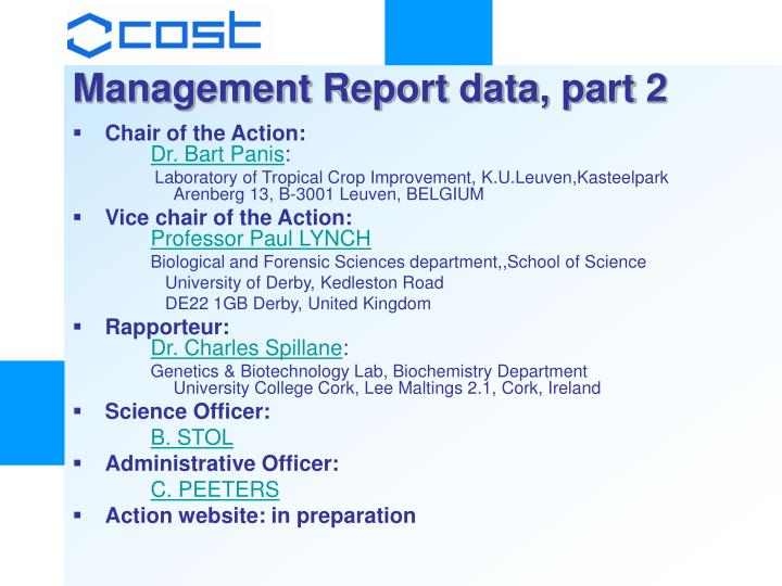 Management Report data, part 2