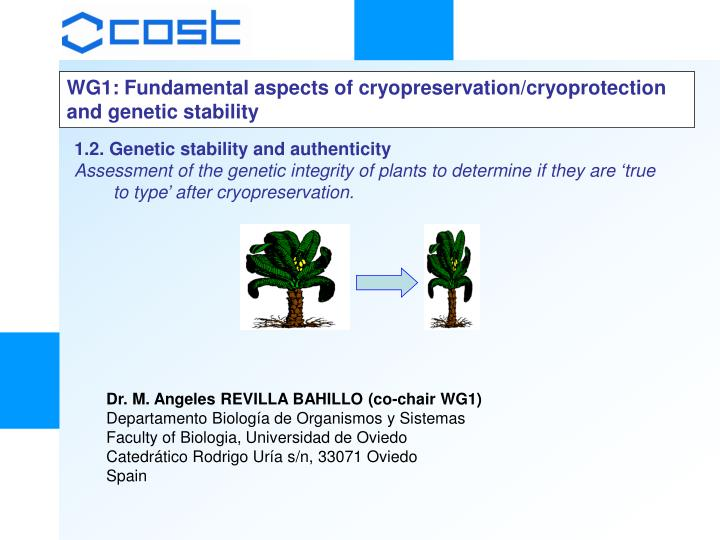 WG1: Fundamental aspects of cryopreservation/cryoprotection and genetic stability