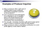 examples of producer inquiries1