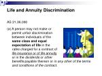 life and annuity discrimination
