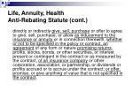 life annuity health anti rebating statute cont