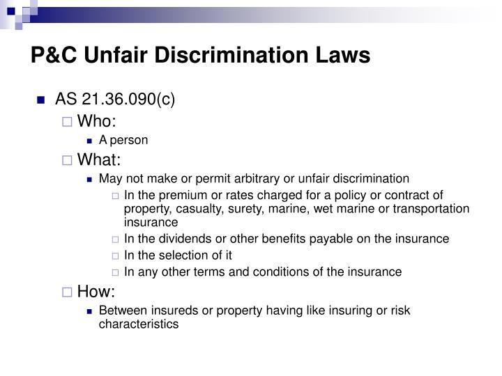 P&C Unfair Discrimination Laws