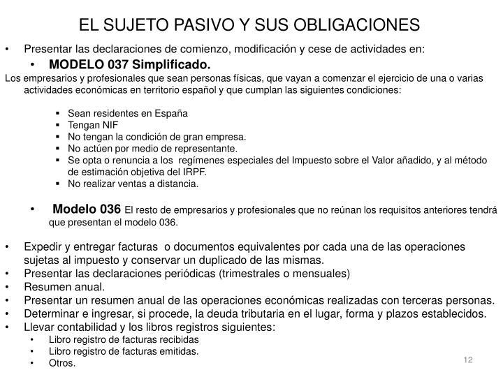 EL SUJETO PASIVO Y SUS OBLIGACIONES