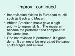 improv continued