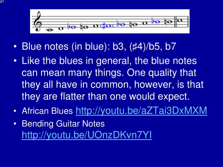Blue notes (in blue): b3, (♯4)/b5, b7