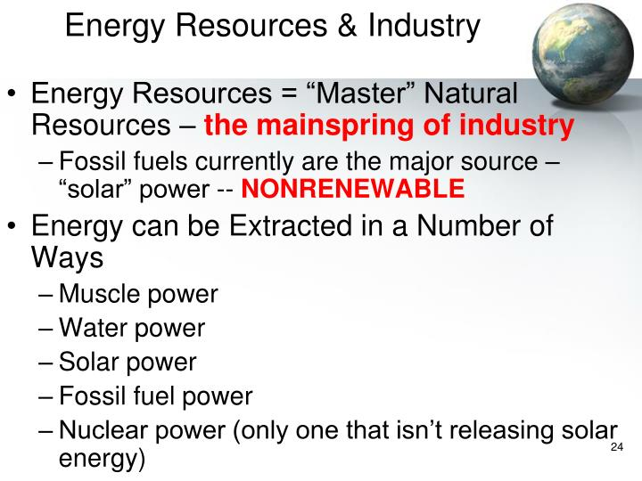 Energy Resources & Industry