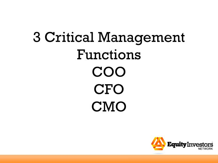 3 Critical Management Functions