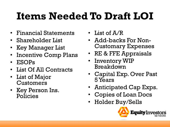 Items Needed To Draft LOI