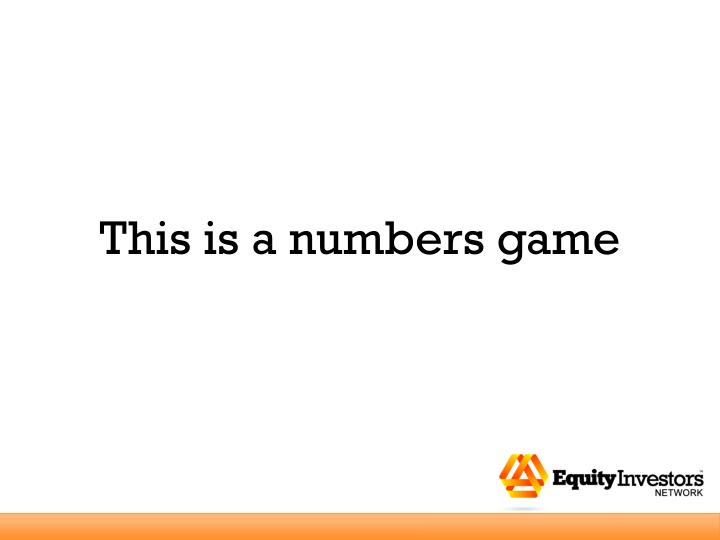 This is a numbers game