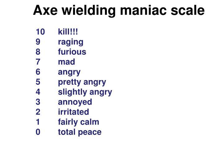 Axe wielding maniac scale