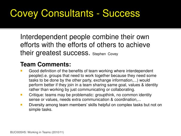 Covey Consultants - Success