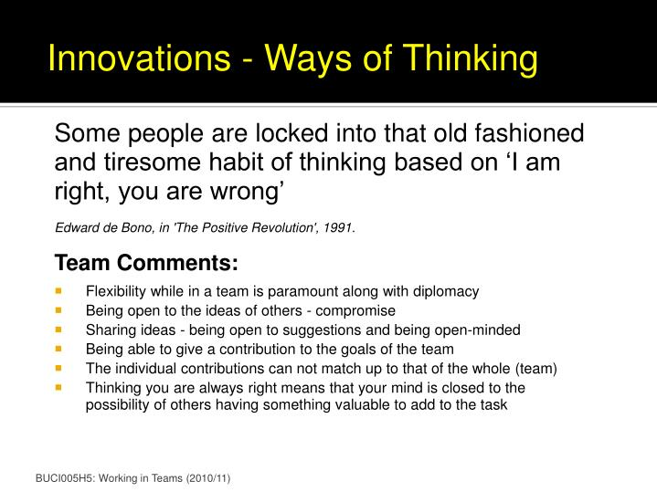 Innovations - Ways of Thinking