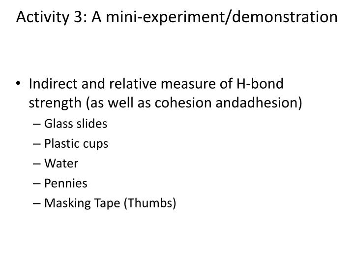 Activity 3: A mini-experiment/demonstration