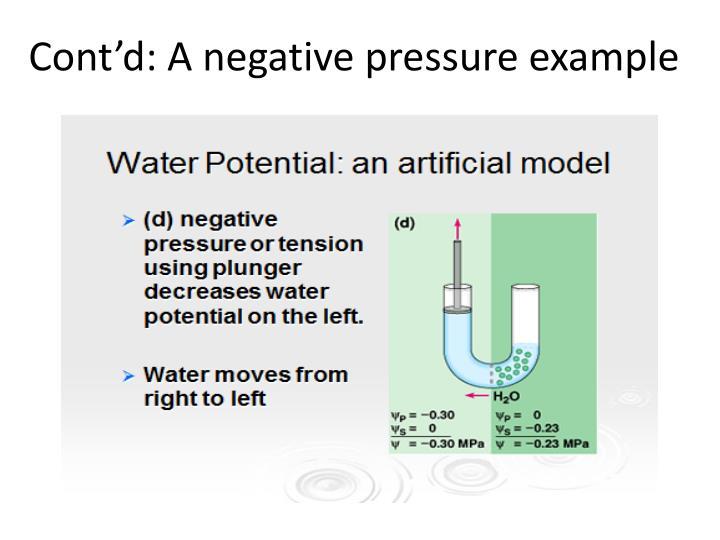 Cont'd: A negative pressure example
