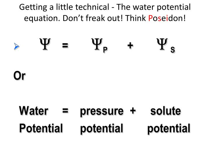 Getting a little technical - The water potential equation. Don't freak out! Think