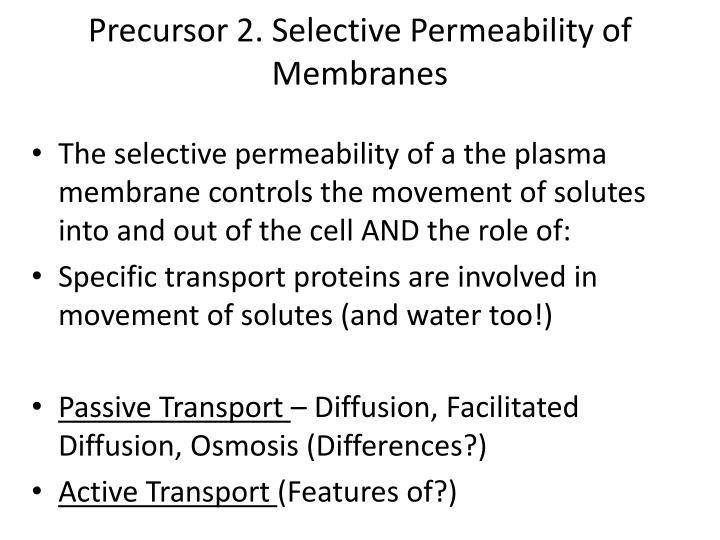 Precursor 2. Selective Permeability of Membranes