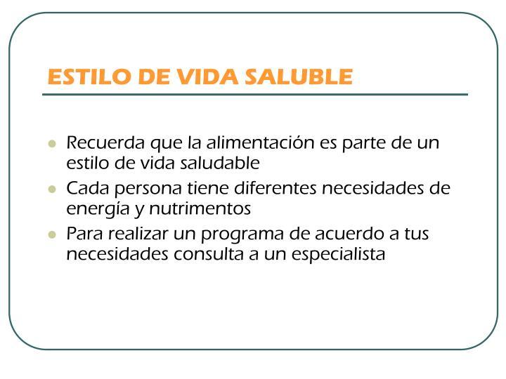 ESTILO DE VIDA SALUBLE