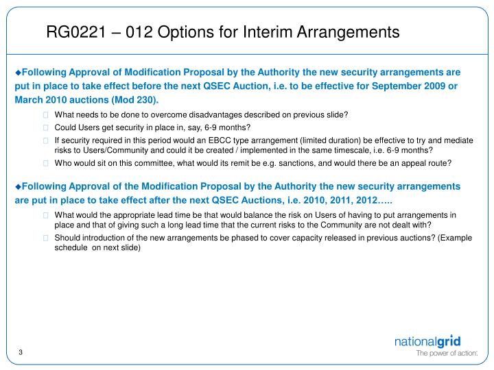 Rg0221 012 options for interim arrangements