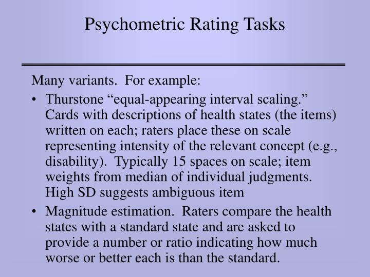 Psychometric Rating Tasks