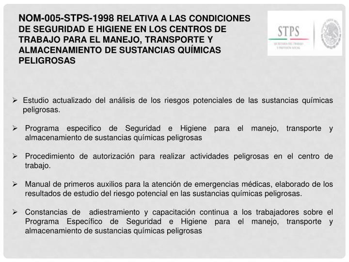 NOM-005-STPS-1998