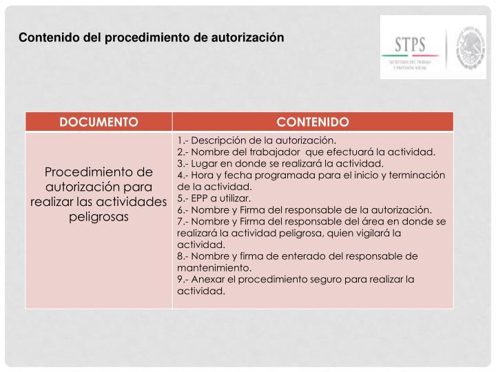 Contenido del procedimiento de autorización