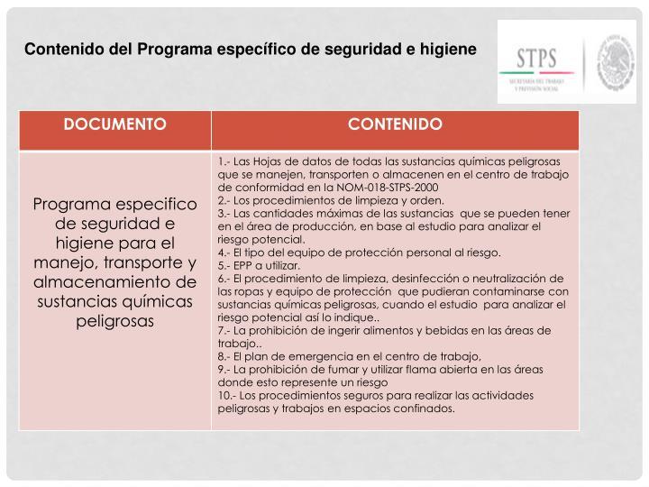 Contenido del Programa específico de seguridad e higiene