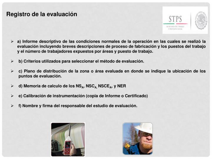 Registro de la evaluación