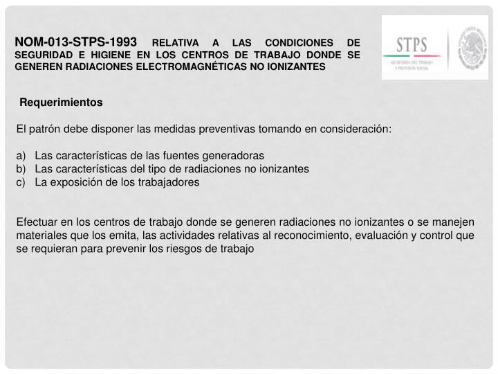 NOM-013-STPS-1993