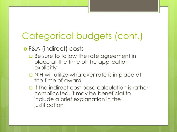Categorical budgets (cont.)