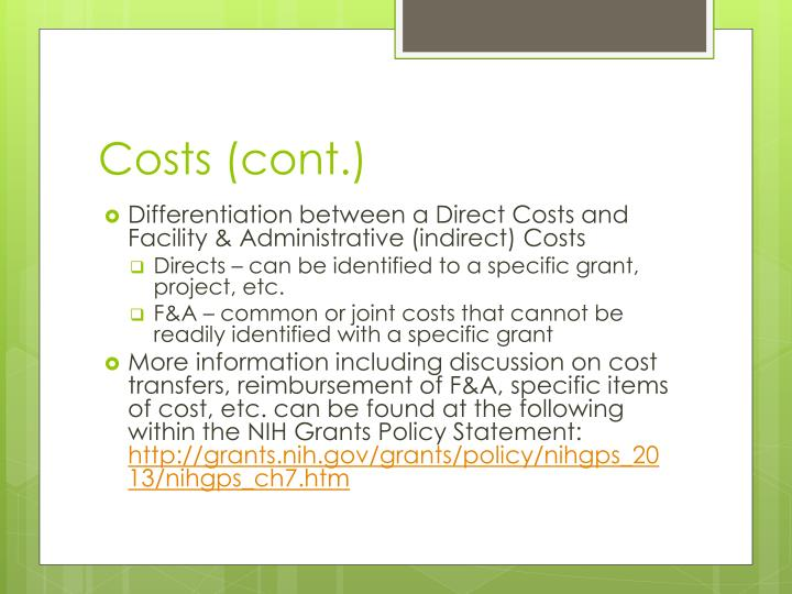 Costs (cont.)