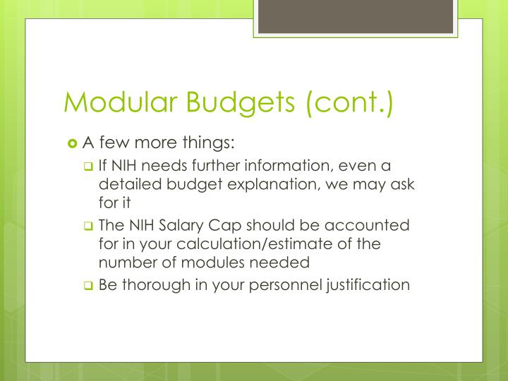 Modular Budgets (cont.)