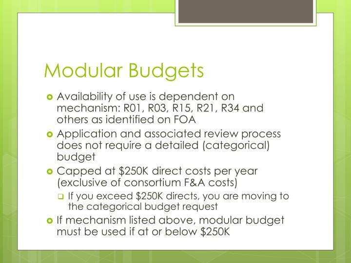 Modular Budgets