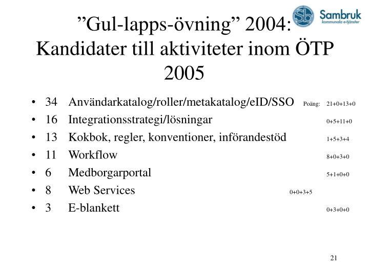 """""""Gul-lapps-övning"""" 2004: Kandidater till aktiviteter inom ÖTP 2005"""