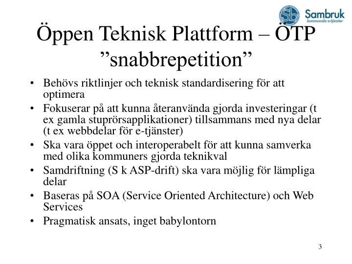 Öppen Teknisk Plattform – ÖTP