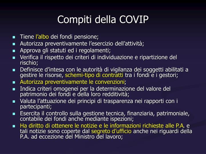 Compiti della COVIP