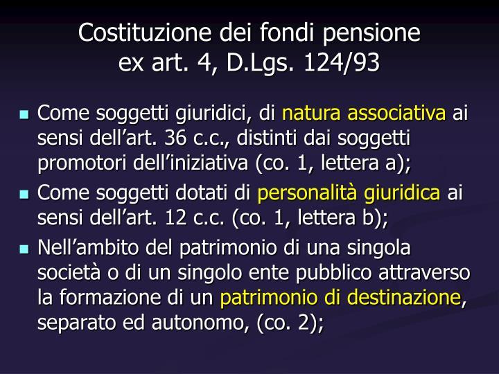 Costituzione dei fondi pensione