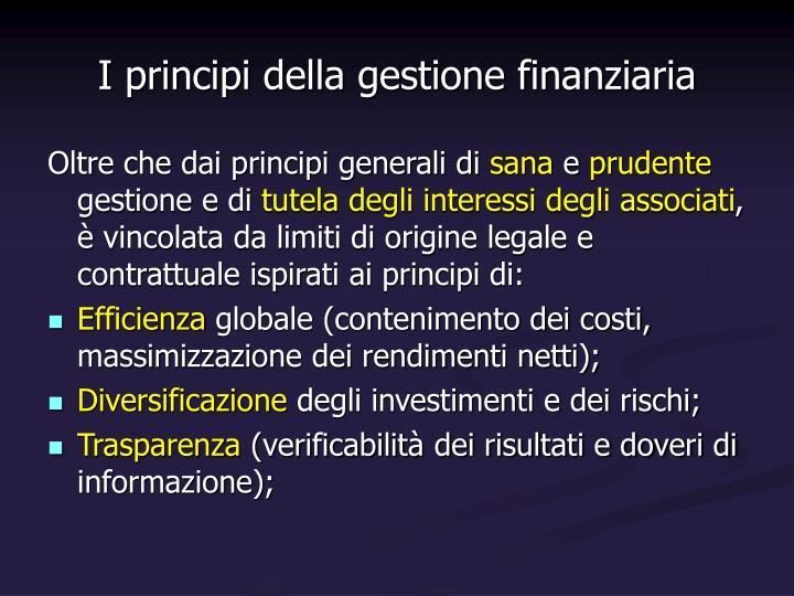 I principi della gestione finanziaria