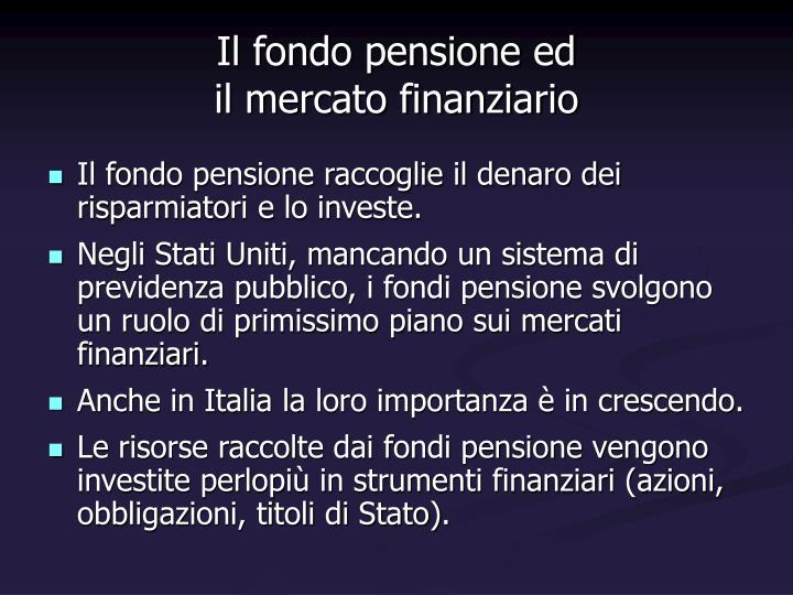 Il fondo pensione ed