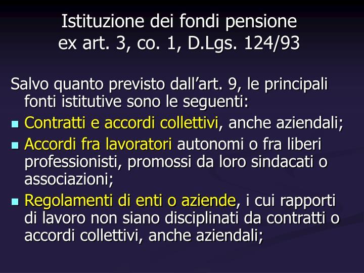 Istituzione dei fondi pensione