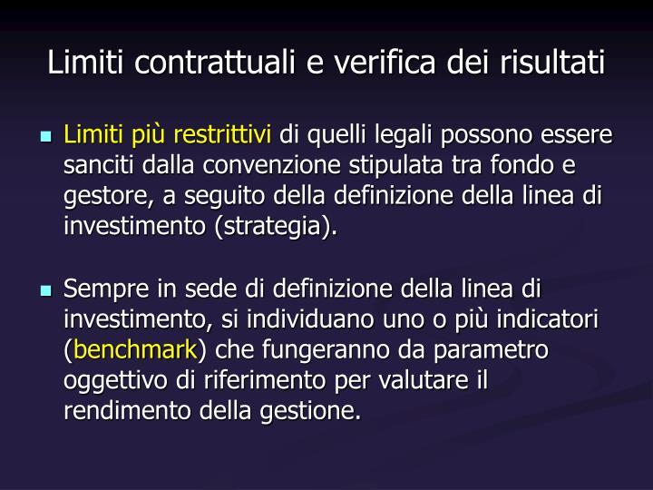 Limiti contrattuali e verifica dei risultati