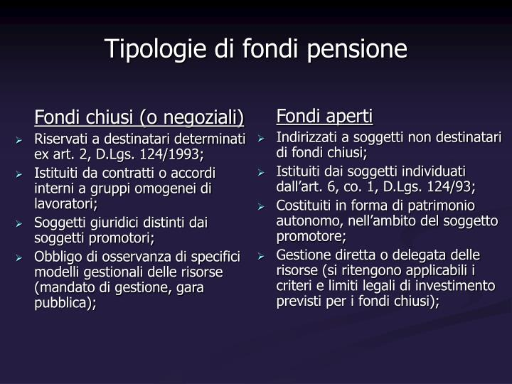 Fondi chiusi (o negoziali)