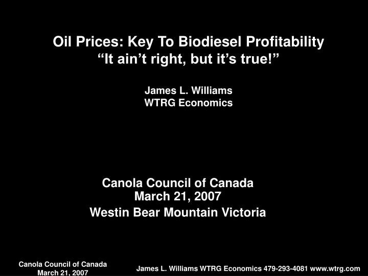Oil Prices: Key To Biodiesel Profitability