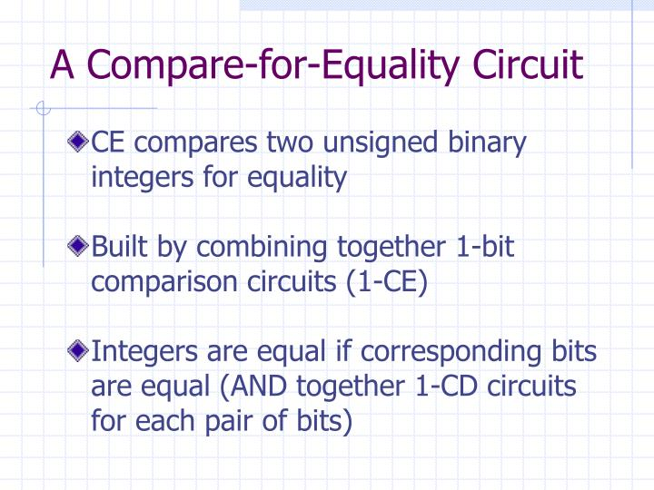 A Compare-for-Equality Circuit