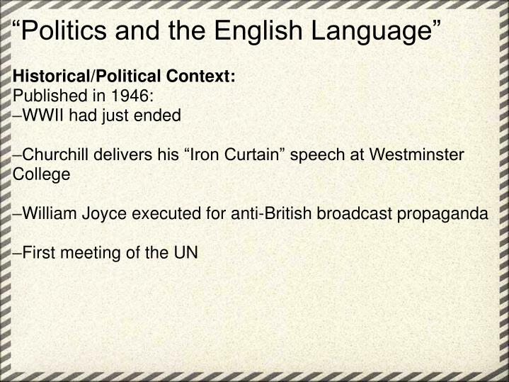 """Politics and the English Language"""