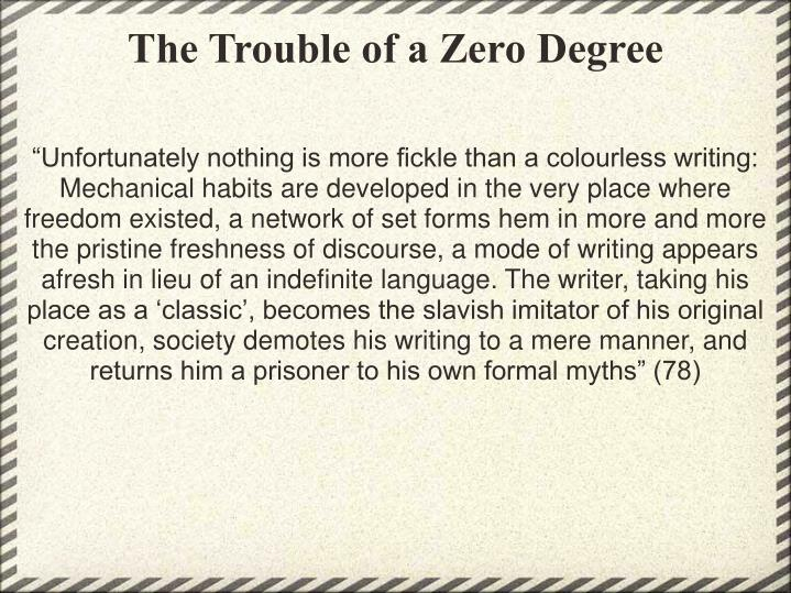 The Trouble of a Zero Degree
