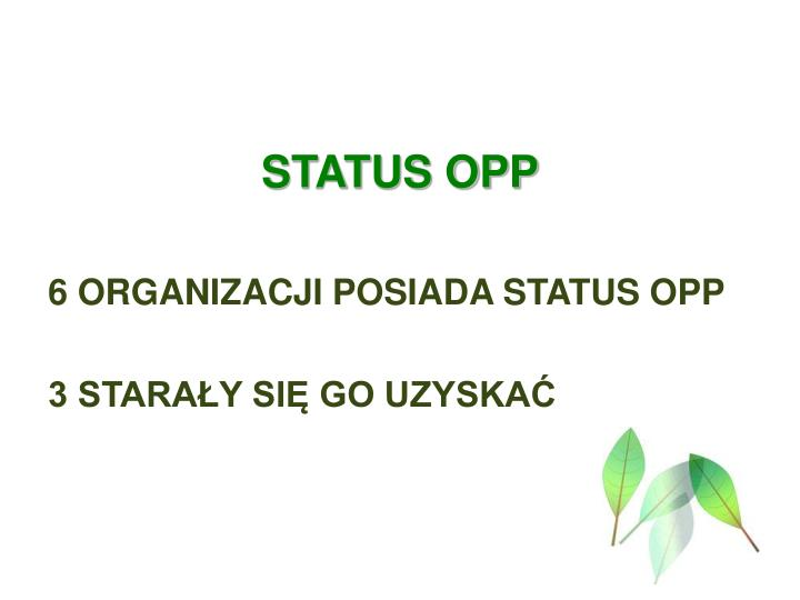 STATUS OPP